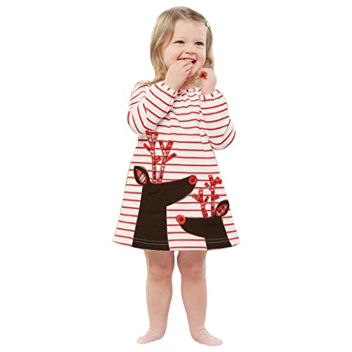 Xinan Mädchen Kleider Baby Kleidung Deer Striped Princess Weihnachten Outfits (130, Weiß)