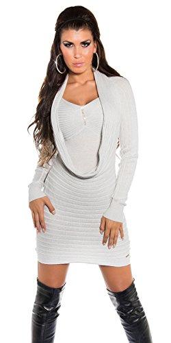 Sexy KouCla Strickminikleid mit Strass und Lurex - Longpulli Strickkleid in versch. Farben - Einheitsgröße (Silber) (Lurex-sweater-kleid)