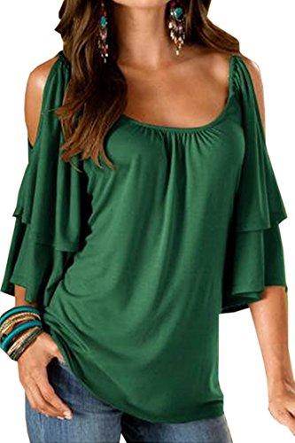 Landove T Shirt Spalle Scoperte Moda Bluse con Volant Camicie Estive Donna Maglietta Girocollo Camicetta Manica Corta Casual Tunica Top Scollo a Barca Pullover Sweatshirt Tumblr Tinta Unita