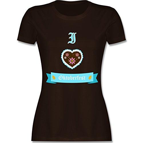 Shirtracer Oktoberfest Damen - I Love Oktoberfest - Damen T-Shirt Rundhals Braun