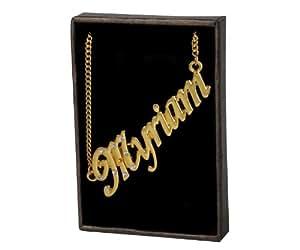 """Nom Colliers """"MYRIAM"""" – Collier personnalisé Plaqué or 18 carats, un cadeau pour Noël, la St Valentin ou la Fête des Mères, vendu avec sac et boitier cadeaux."""