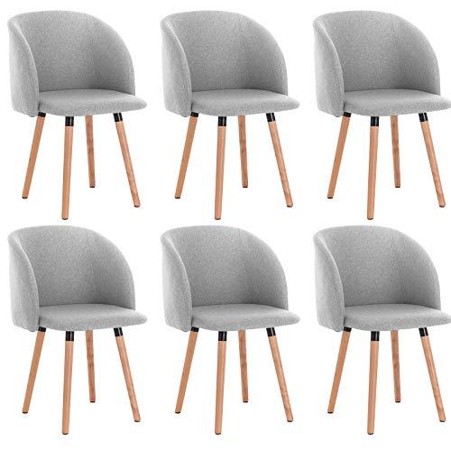 WOLTU 6 x Esszimmerstühle 6er Set Esszimmerstuhl Küchenstuhl Polsterstuhl Design Stuhl mit Armlehne, mit Sitzfläche aus Leinen, Gestell aus Massivholz, Hellgrau, BH120hgr-6