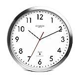 Cander Berlin MNU 3030 Weiße Funkwanduhr aus Aluminium mit lautlosem Sweep Uhrwerk 12 Zoll (Ø) 30,5 cm