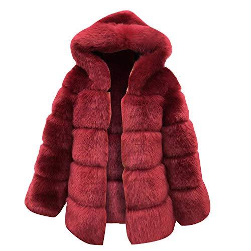 (MIRRAY Damen Mäntel Künstliches Fell Winter Mit Kapuze Jacke Warme Dicke Oberbekleidung Jacke Braun Khaki Navy Wien Rot)