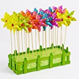 Girandole Gioco a vento - Moulin Set 24Pz - Impermeabile e resistente ai raggi UV - Pala eolica: Ø9 cm, Stand altezza: 28 cm - premontato con stand staeben nella scatola fiore decorativo