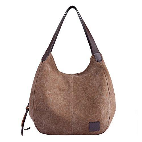 PB-SOAR Damen Mädchen Modern Canvas Shopper Schultertasche Handtasche Henkeltasche Hobo Bag Beuteltasche (Braun) (Handtasche Geschenk-beutel)