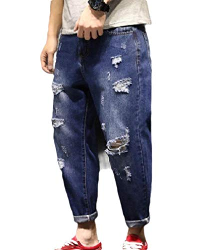 Herren Rugged Casual Boot (CuteRose Men's Washed Baggy Harem Pants Rugged Wear Trousers Jeans Denim Pants Dark Blue S)