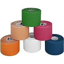 6 rollos Kinesiología tape 5 m x 5,0 cm Kinesiología tape en varias colores, Color:multicolor