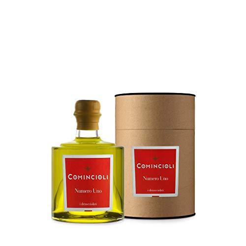 Olio extravergine di oliva numero uno - comincioli - lombardia - bottiglia di vetro astucciata - ml - casaliva, leccino, altre -