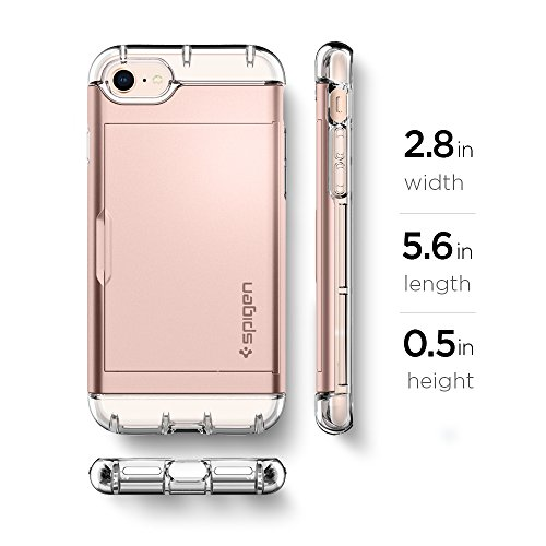 iPhone 8 / 7 Hülle, Spigen® [Crystal Wallet] iPhone 8 Hülle, Kartenfach [Rose gold] Doppelte Schutzschicht mit Luftpolster-Kantenschutz - Card Holder Handycase Schutzhülle für Apple iPhone 7 Hülle / iPhone 8 Case Cover - Rose gold (042CS20982) - 8