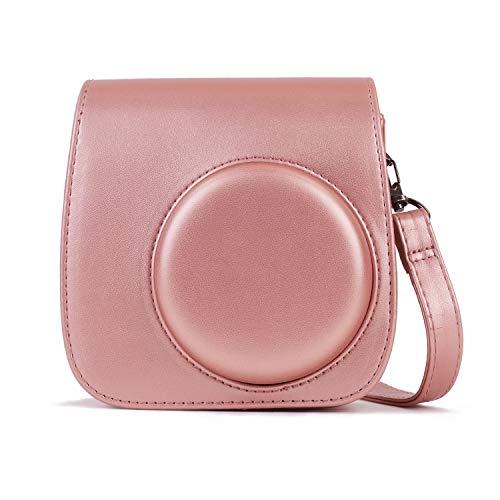 Leebotree Tasche Kompatibel mit Instax Mini 9 / Mini 8 8+ Sofortbildkamera, Schutztasche aus Weichem Kunstleder mit Schulterriemen und Tasche (Blush Gold)