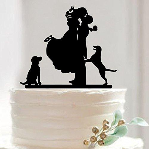 Musuntas Personalized Braut & Bräutigam Mit Hund Wedding Cake Topper Kuchendeckel, Braut-und Bräutigam-Hochzeits-Silhouette
