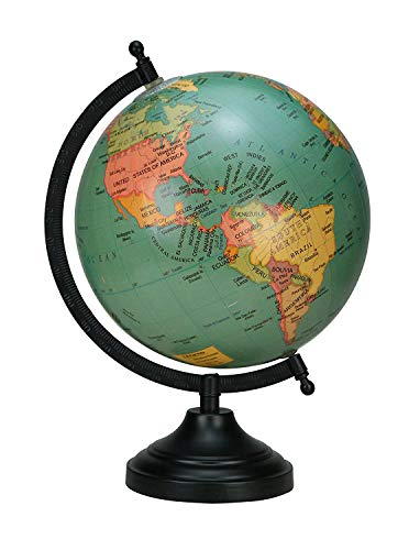 Rotating Globe Table Decor Green Ocean Geographical Earth Desktop Home By Globes Hub-Perfect for Home, Office & Classroom