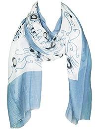 Mevina Damen Schal mit Traumfänger Feder Print Muster groß Sommer Ibiza Style Tuch Sommerschal Halstuch Premium Qualität