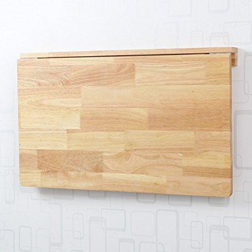 Table pliante LXF Table Murale Bureau d'ordinateur en Bois Massif de Salle à Manger Formation Bois de pin Bois de Caoutchouc (Couleur : Rubber Wood, Taille : 80 * 50 cm)