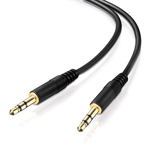 adaptare 10006 Stereo-Aux-Kabel 2-mal 3,5-mm-Stecker Klinke vergoldet Ultraslim-Design, 0,60m, schwarz (Stereo-autos)