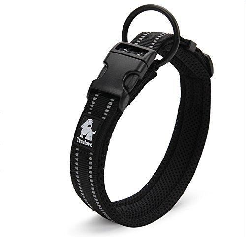 Kaka Mall Hundehalsband Verstellbare Nylon Hunde Halsband Atmungsaktives 3M Reflektierend Halsband (3XL,Schwarz)