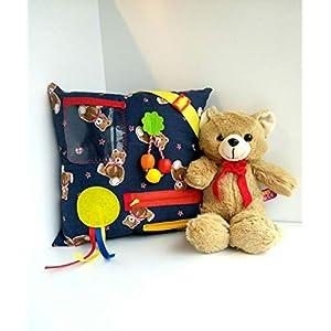 Blaues Zappelkissen Teddybären – sensorische Aktivitäten für Senioren