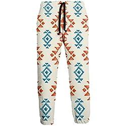 Pantalones de Chándal Ornamentales Étnicos Tribales Indios Americanos de Patrones Sin Fisuras para Hombres con Bolsillos para Trotar Entrenamiento Gimnasio Correr Entrenamiento L