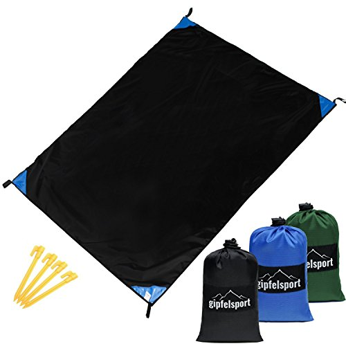 gipfelsport Picknickdecke - Outdoor Picknick Decke I Stranddecke, wasserdicht, abwaschbar, sandfrei I 200x140 cm I schwarz