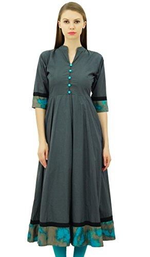 Bimba Baumwolle Anarkali Kurti Designer Ethnic Ausgestelltes Kurta Kleid Damen Indisches Tunika (Kleid Kurta)