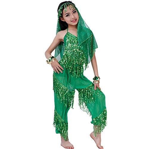 JIE. Kinder Quaste Bauchtanz Kostüm Frauen Übungskleidung Indischer Tanz Tanz Kostüme Frühling Und Sommer Schleier Bloomers Geeignet für Höhe 95-160 cm,Green1,L