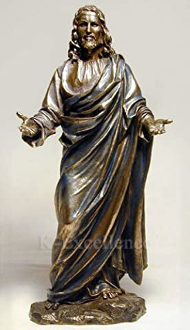 JESUS CHRIST BLESSING STATUE Real Bronze Powder Cast Statue Sculpture 12 by King Tut
