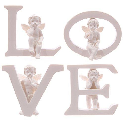 Weiß Cherub L O V E Buchstaben-Set aus 4Buchstaben