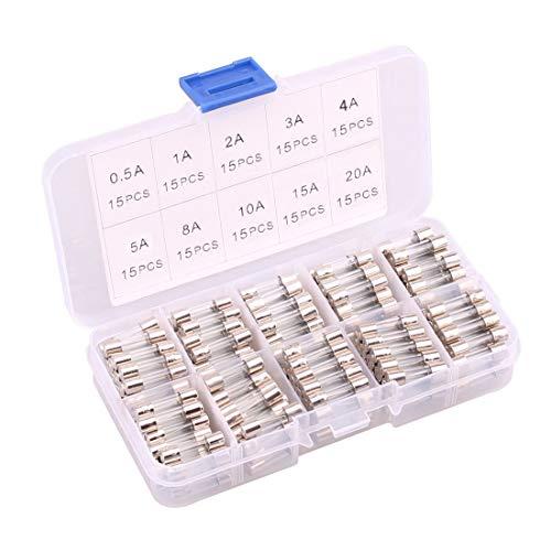 EEFUN 150 Stücke 5x20mm Schnelle Schlag Glassicherung, Fast-Schlag Glas Sicherungen Assortierte Kit, 0.5A 1A 2A 3A 4A 5A 8A 10A 15A 20A