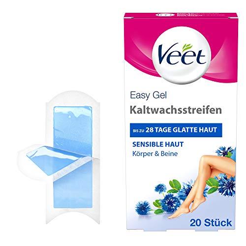 Veet Kaltwachsstreifen mit Easy-Gelwax Technology - Geeignet für sensible Haut - Anwendung für Beine & Körper - Bis zu 4 Wochen glatte Haut - 10 x Doppelstreifen à 20 Anwendungen