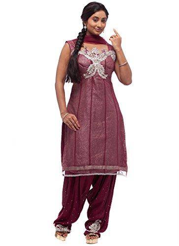 Fashionista Magenta Net Patiala Suit Size :34 Color : Magenta