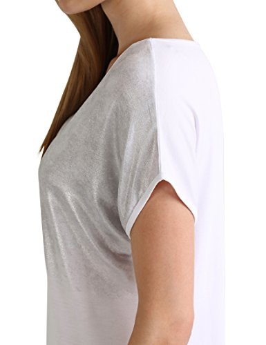 Berydale Damen Loose Fit T-Shirt mit glänzendem Folienprint Weiß/Silber (Knitted Loops)
