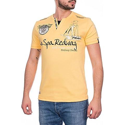Redway, Cuello En V Para Hombre Motivo Estampado Camiseta Manga Corta