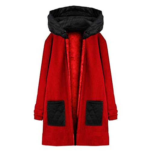 Internet Damen Langarm Kapuzen Mantel Jacke Windbreaker Outwear Top (rot, L) (Tunika Jacke Stricken)
