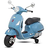 BAYBEE Baby Scooter Officially Licensed Vespa Battery Operated Ride On Bike With MP3/USB/TF Music | Headlights With 35kg In Weight- Blue