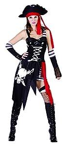 Reír Y Confeti - Fibpir031 - Para adultos traje - Traje Pirata Capitán Jefe de la muerte - Mujer - Talla M