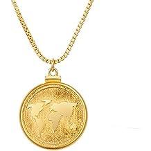 Collar de monedas chapado en oro de 18 quilates con colgante de moneda de la Tierra