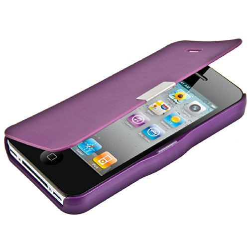 kwmobile Flip Case Hülle für > Apple iPhone 4 / 4S < - Aufklappbare Schutzhülle Tasche im Flip Cover Style in Violett