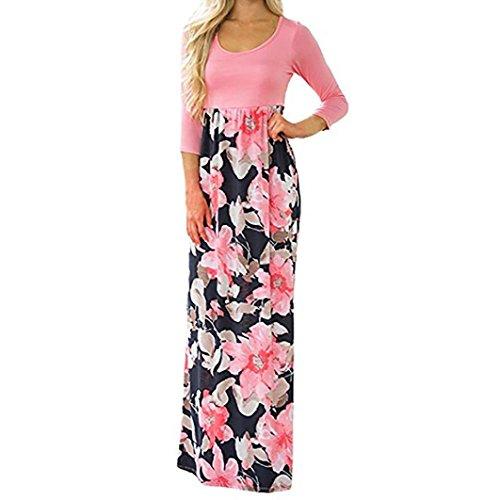 ange Boho Kleid Lady Beach Sommer Sundrss Maxikleid Strand häkeln Vintage Floral Bodycon Sleeveless beiläufiges Abend Partei Abschlussball Schwingen (L, Rosa(3/4 Ärmel)) ()