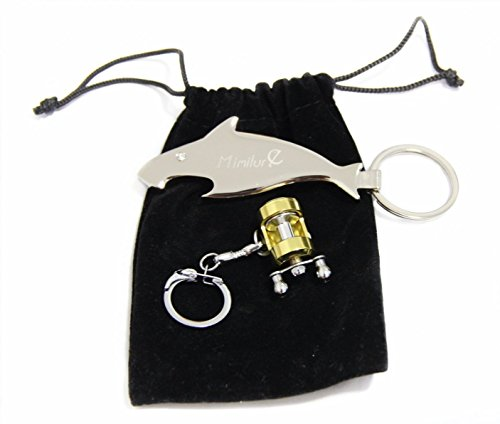 Schlüsselanhänger mit Motiv: Angelrolle und Fisch, cool, Bieröffner, für Angler