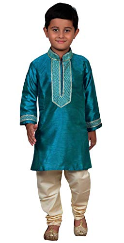 Desi Sarees Indien Pakistan Jungen Sherwani Kurta mit Churidar Kameez für Bollywood-Thema & Party Kostüm 891 - Türkis, 0 (6 Months to 1 Yrs) (Bollywood Themen Kostüm Party)