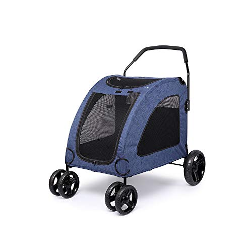 YMJJ Passeggino per Animali Domestici, Passeggino per Animali Domestici Passeggino in Rete Traspirante Passeggino per Gabbia per Cani Passeggino Carrozza con Quattro Ruote Easy Walk,Blue