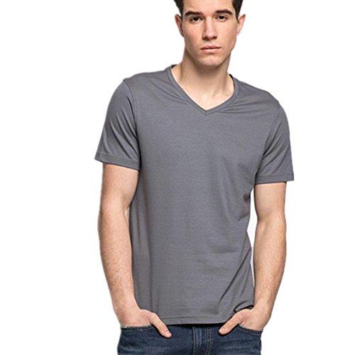SHISHANG fibra di bambù T-shirt + cotone in stile europeo, a maniche corte estiva confortevole collare parola confortevole sudore V sciolto vino arancione blu grigio rosso Grey