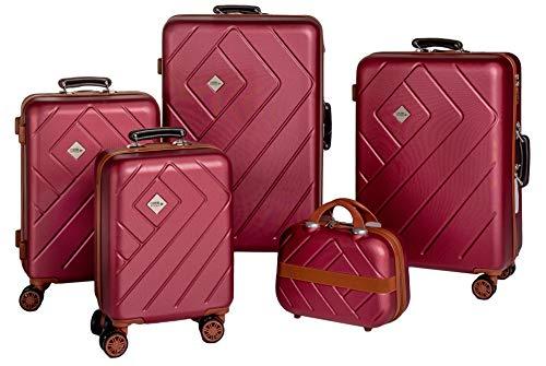 Enrico Coveri Moving Set Quattro Trolley + Beauty Case da Viaggio, Valigie Rigide ABS Viola e Marrone in Quattro Dimensioni