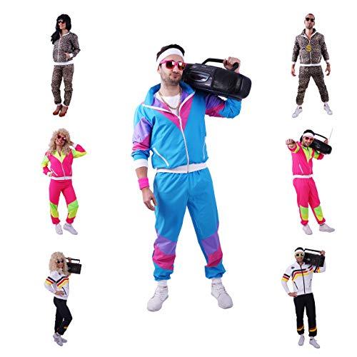 FetteParty - 80-er 90-er Jahre Erwachsenenkostüm, Deluxe Trainingsanzug - Jogginganzug, Jacke und Hose, Mehrfarbig Blau/Lila Mottoparty Karneval JGA (L)
