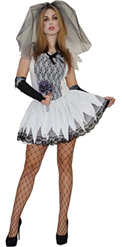 en Kostüme Zombies, Größe:M;Modell:Zombie Braut (Trashige Kostüm)