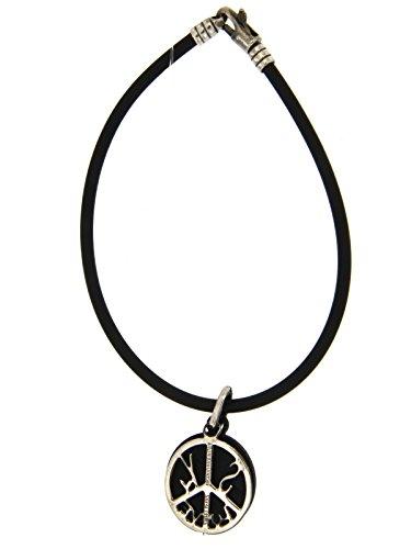 Sweet years bracciale in caucciu' nero con pendente caucciu' nero e argento 925/000 lunghezza 22 cm s0098