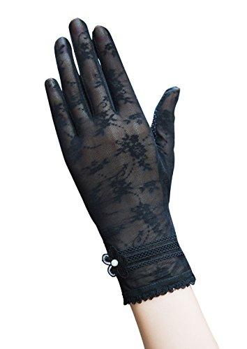 Damen Sommer Spitze Blume Sonnenschutz Handschuhe Fahrradhandschuhe Brauthandschuhe (Schwarz) -