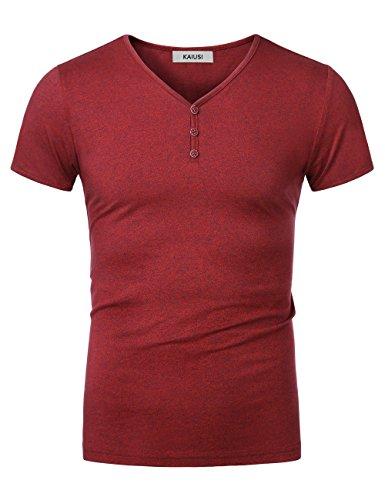 KAIUSI Herren Slim Fit mit V-Ausschnitt mit Knopf T-Shirt Rot Large (Rot Fit Slim T-shirt)