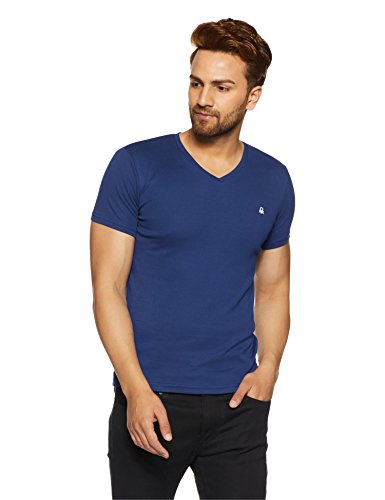 United Colors of Benetton Men's Solid T-Shirt (17A3C78J1204I_Deep Blue_EL)